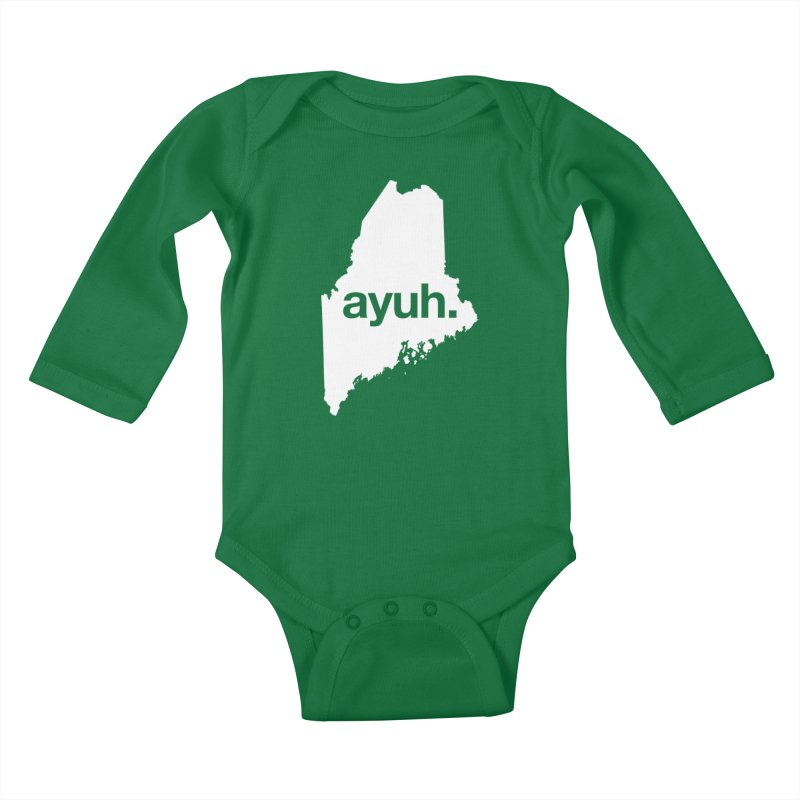 Ayuh - The Maine Word Kids Baby Longsleeve Bodysuit by Calobee Doodles