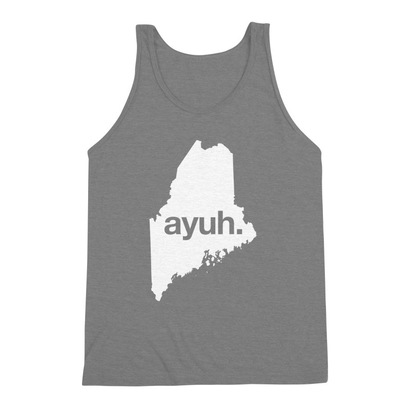 Ayuh - The Maine Word Men's Triblend Tank by Calobee Doodles