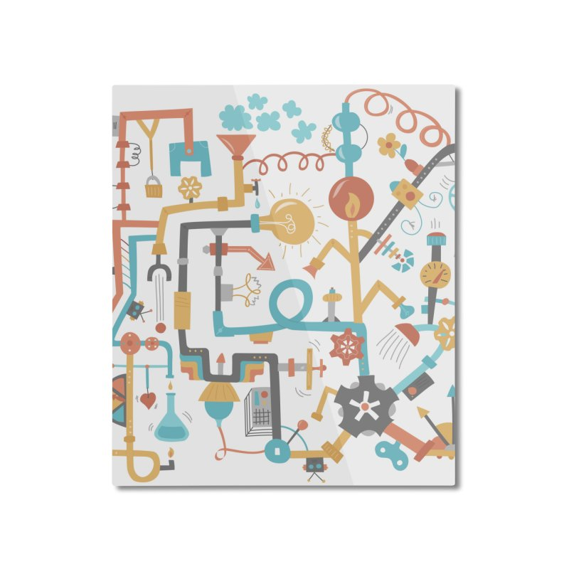 Pipe Dreams Home Mounted Aluminum Print by Calobee Doodles