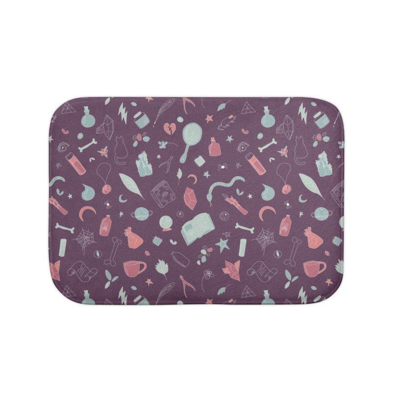 Hocus Pocus - Purple & Mint Home Bath Mat by Calobee Doodles