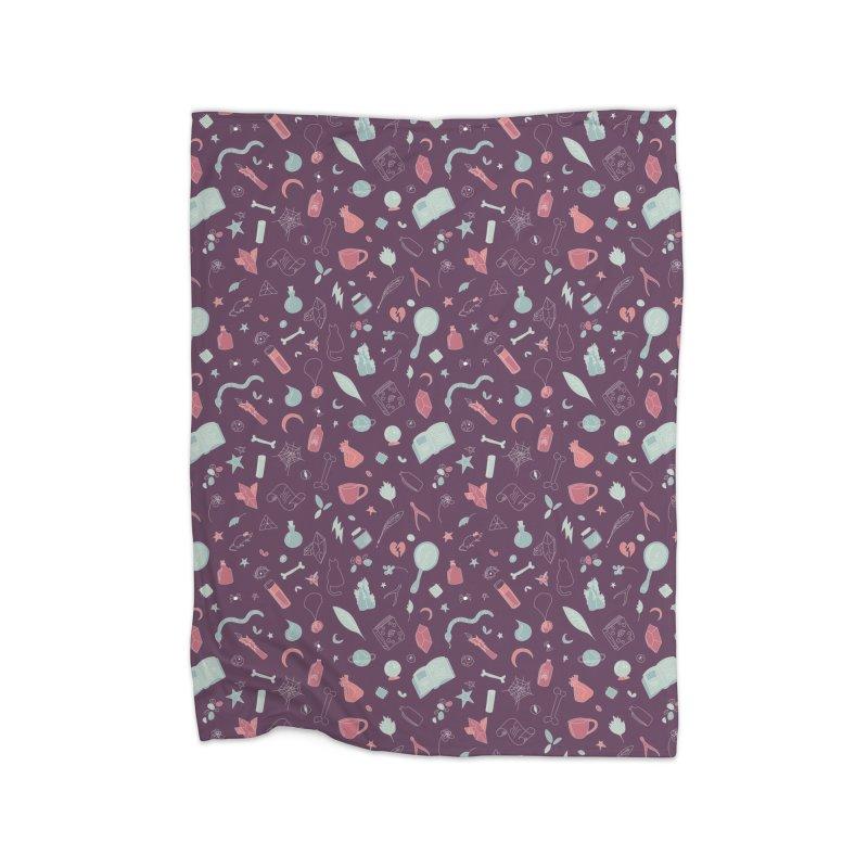 Hocus Pocus - Purple & Mint Home Blanket by Calobee Doodles