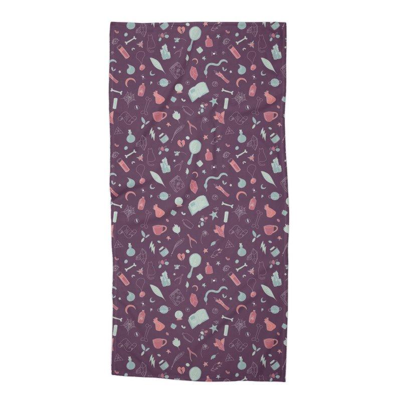 Hocus Pocus - Purple & Mint Accessories Beach Towel by Calobee Doodles