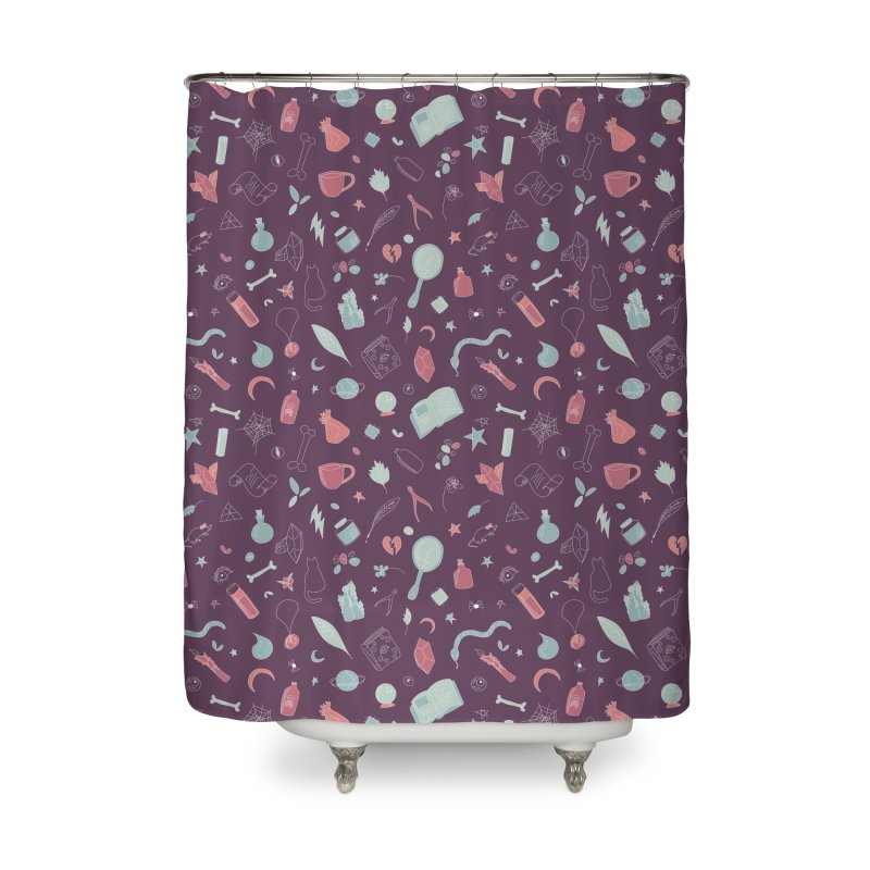 Hocus Pocus - Purple & Mint Home Shower Curtain by Calobee Doodles