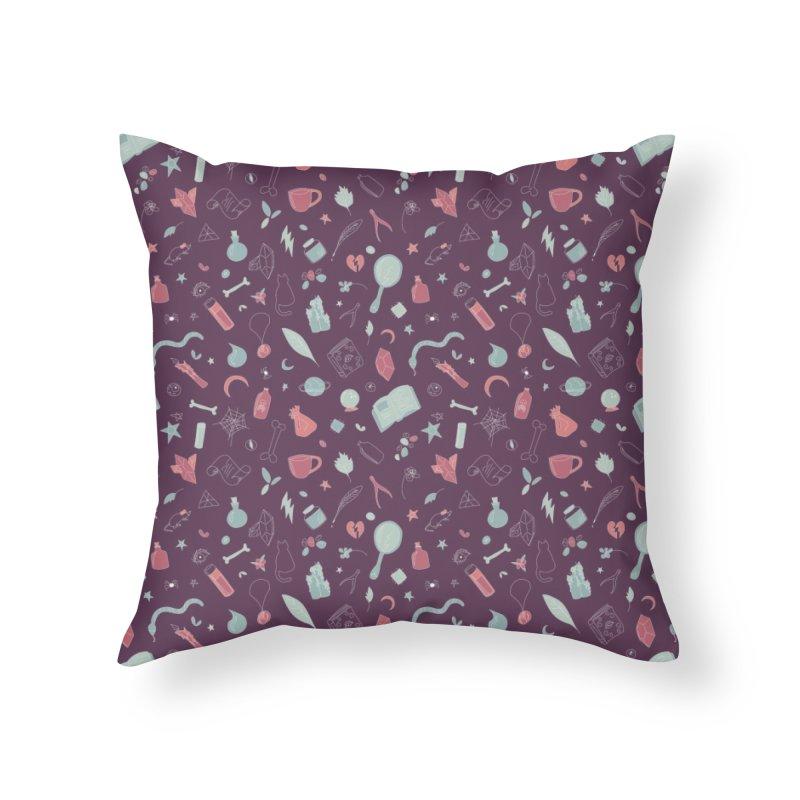 Hocus Pocus - Purple & Mint Home Throw Pillow by Calobee Doodles