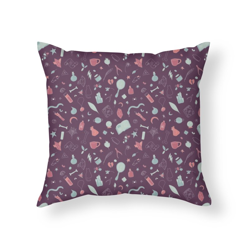 Hocus Pocus - Purple & Mint Home Throw Pillow by Calobee Doodles