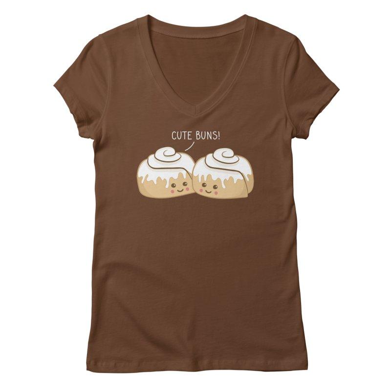 cute buns! Women's Regular V-Neck by Calobee Doodles