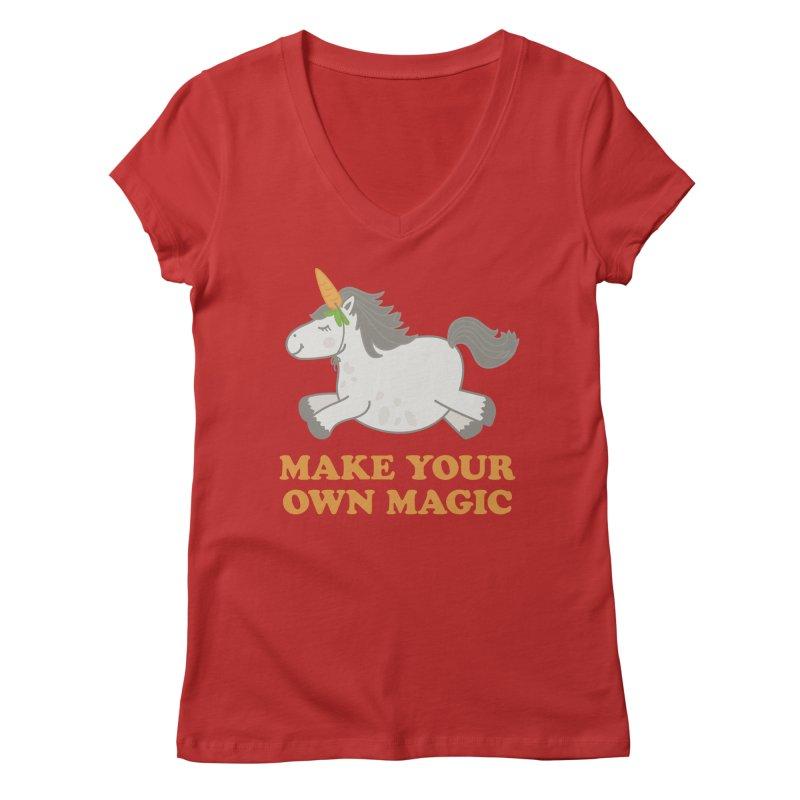 Make Your Own Magic Women's Regular V-Neck by Calobee Doodles