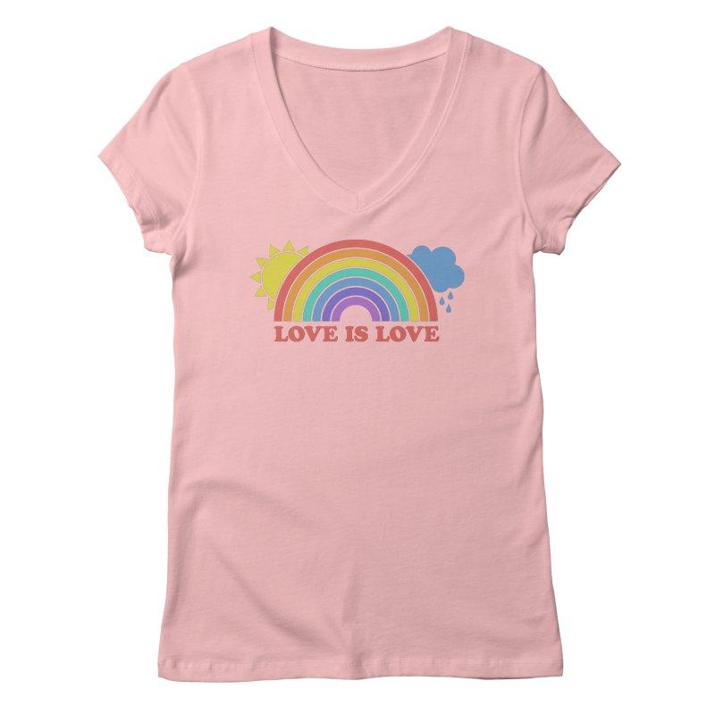 Love is Love Women's Regular V-Neck by Calobee Doodles