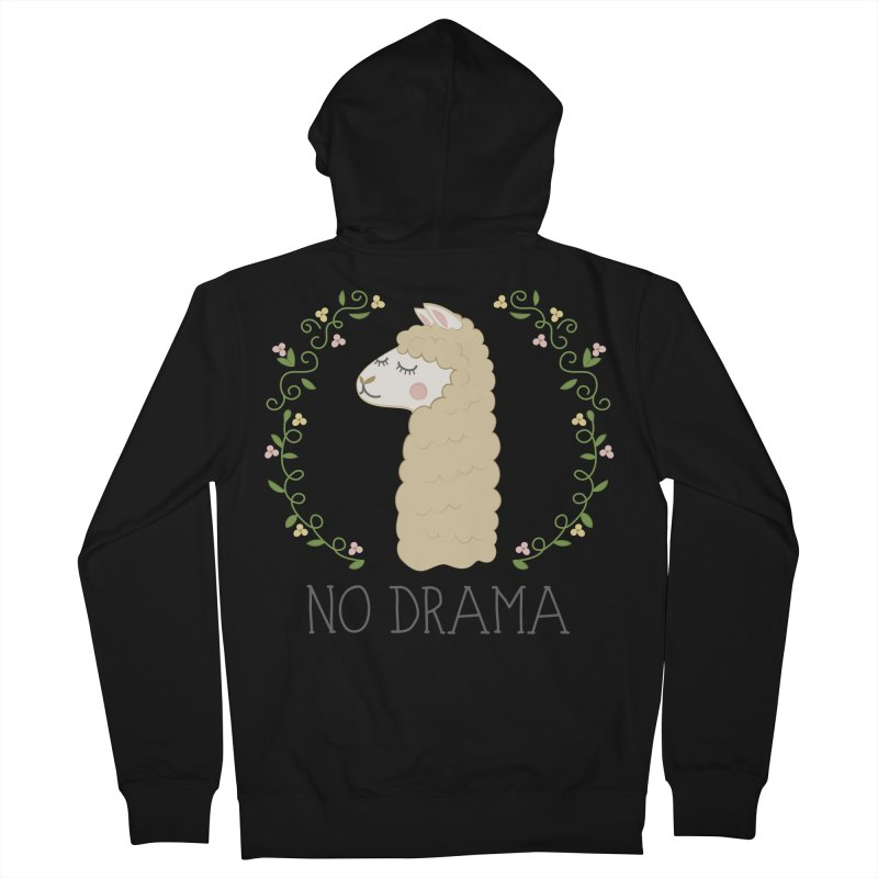 No Drama Llama Women's French Terry Zip-Up Hoody by Calobee Doodles