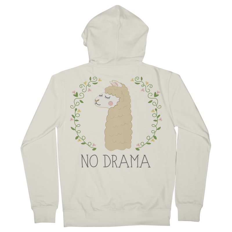 No Drama Llama Men's French Terry Zip-Up Hoody by Calobee Doodles
