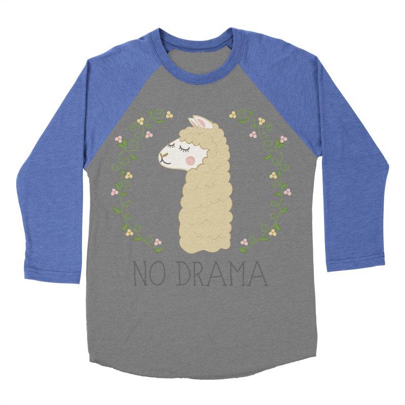 No Drama Llama Women's Baseball Triblend Longsleeve T-Shirt by Calobee Doodles