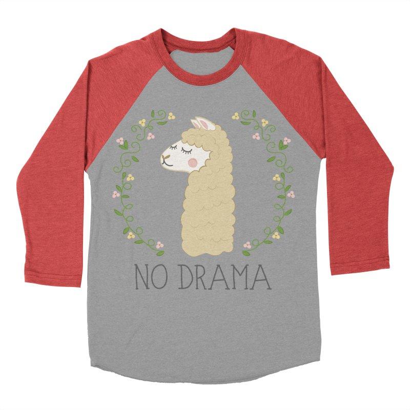 No Drama Llama Men's Baseball Triblend Longsleeve T-Shirt by Calobee Doodles