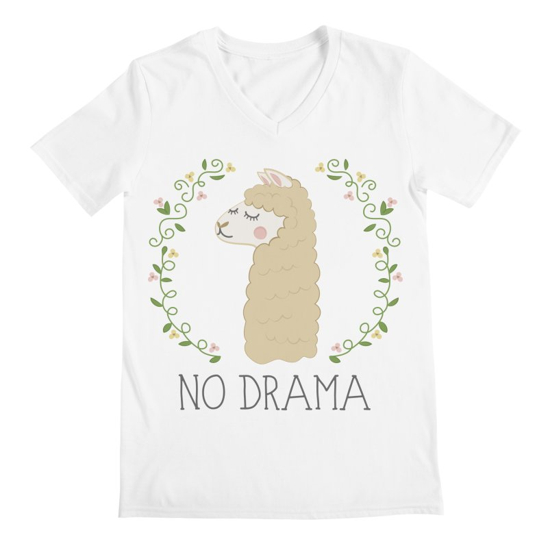 No Drama Llama Men's V-Neck by Calobee Doodles