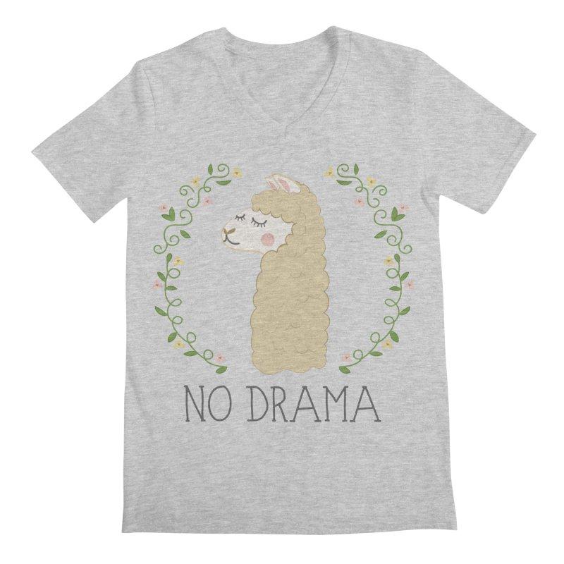 No Drama Llama Men's Regular V-Neck by Calobee Doodles