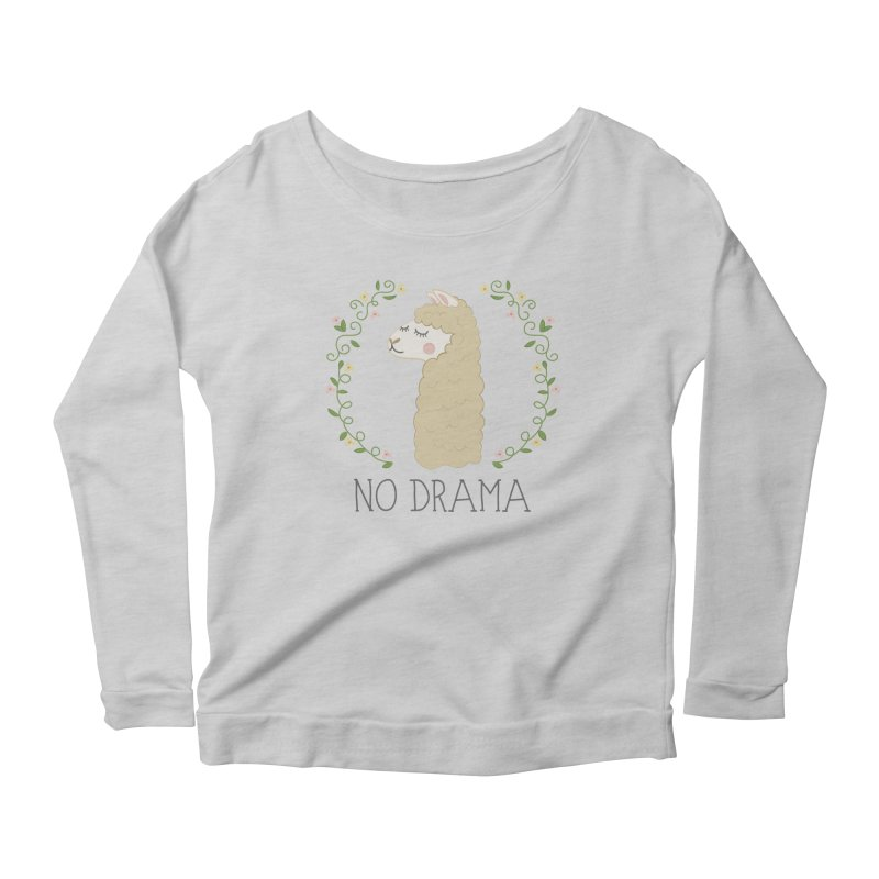 No Drama Llama Women's Scoop Neck Longsleeve T-Shirt by Calobee Doodles