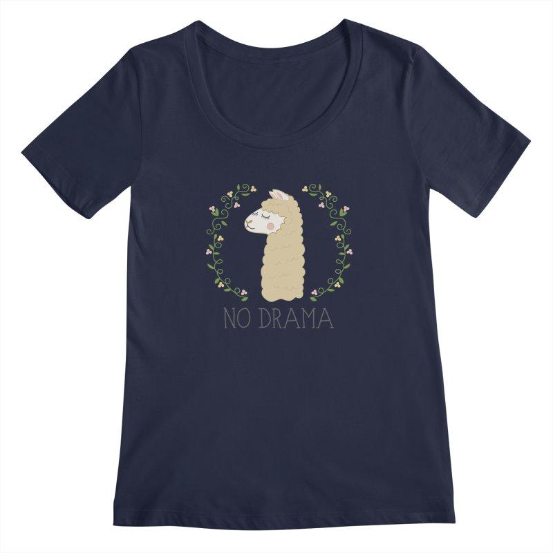 No Drama Llama Women's Regular Scoop Neck by Calobee Doodles