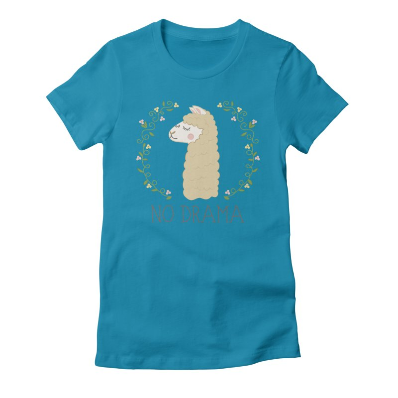 No Drama Llama Women's Fitted T-Shirt by Calobee Doodles