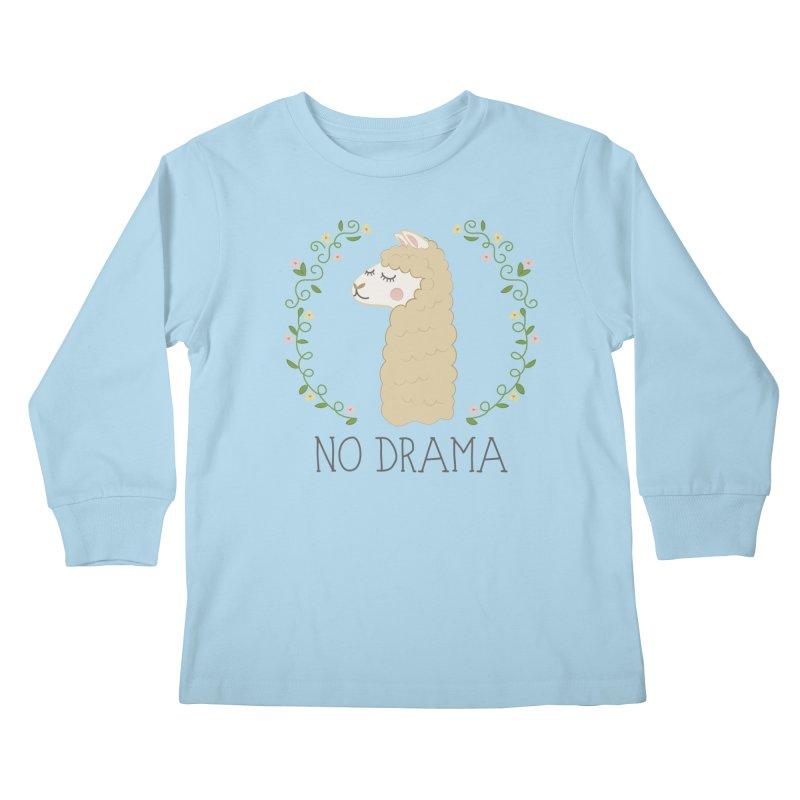 No Drama Llama Kids Longsleeve T-Shirt by Calobee Doodles