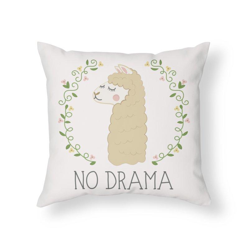 No Drama Llama Home Throw Pillow by Calobee Doodles