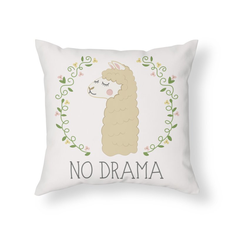 No Drama Llama Home Throw Pillow by Calobee Doodles