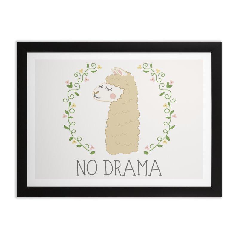 No Drama Llama Home Framed Fine Art Print by Calobee Doodles