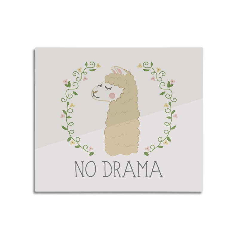 No Drama Llama Home Mounted Aluminum Print by Calobee Doodles