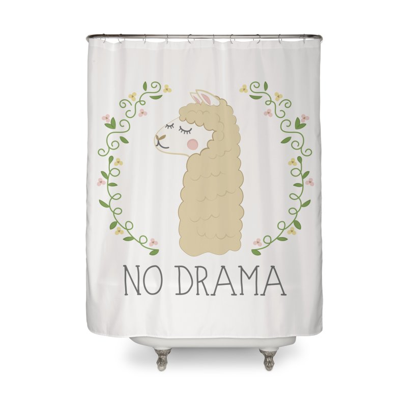 No Drama Llama Home Shower Curtain by Calobee Doodles