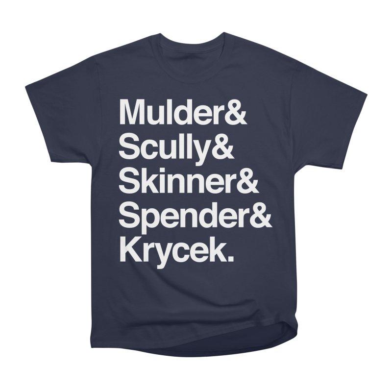 The X-Files in Helvetica - Mulder Scully Skinner Spender Krycek Men's Heavyweight T-Shirt by Calobee Doodles