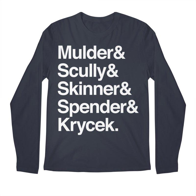 The X-Files in Helvetica - Mulder Scully Skinner Spender Krycek Men's Regular Longsleeve T-Shirt by Calobee Doodles