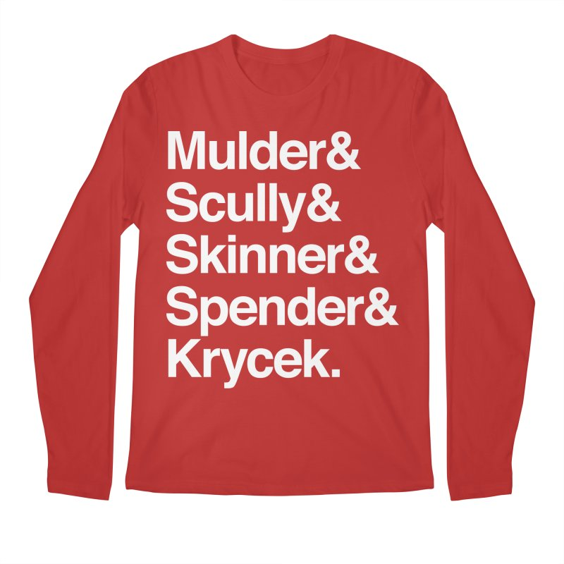 The X-Files in Helvetica - Mulder Scully Skinner Spender Krycek Men's Regular Longsleeve T-Shirt by Calobee Doodles