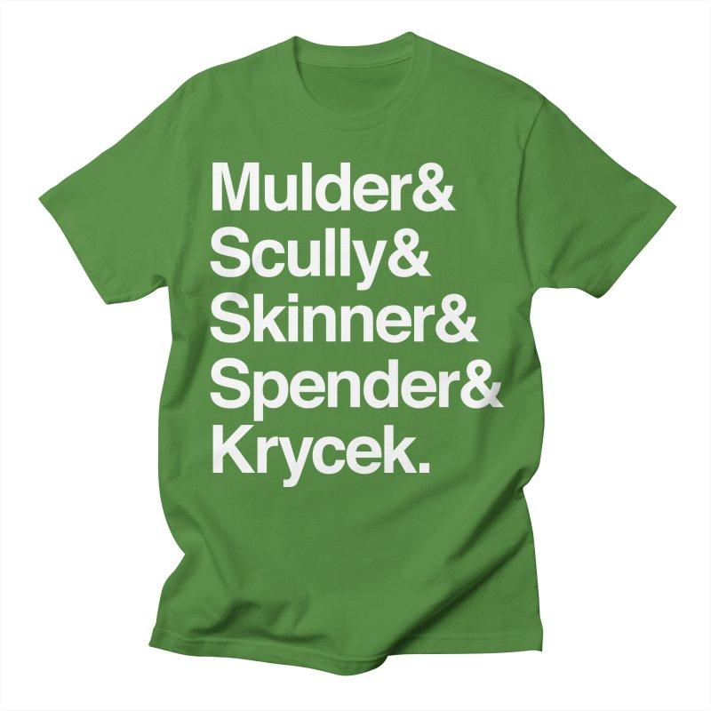 The X-Files in Helvetica - Mulder Scully Skinner Spender Krycek Men's Regular T-Shirt by Calobee Doodles