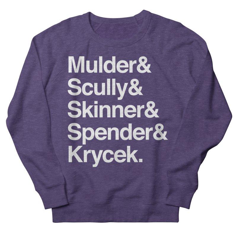 The X-Files in Helvetica - Mulder Scully Skinner Spender Krycek Women's French Terry Sweatshirt by Calobee Doodles