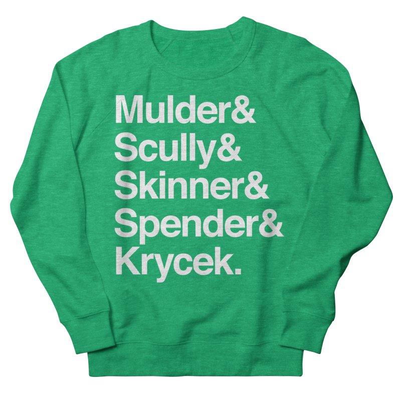 The X-Files in Helvetica - Mulder Scully Skinner Spender Krycek Men's French Terry Sweatshirt by Calobee Doodles