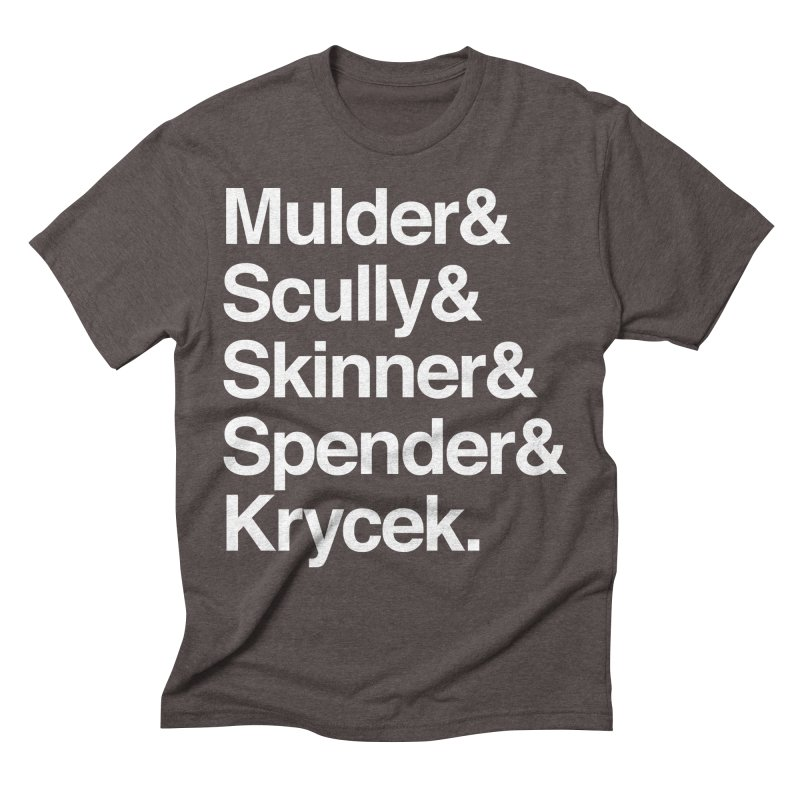 The X-Files in Helvetica - Mulder Scully Skinner Spender Krycek Men's Triblend T-Shirt by Calobee Doodles