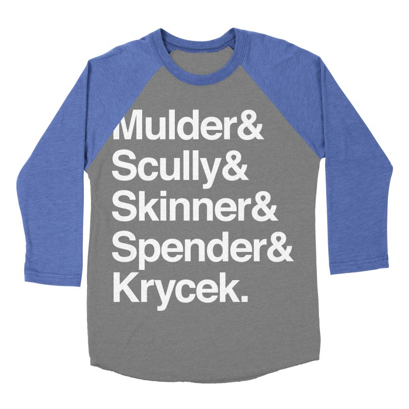 The X-Files in Helvetica - Mulder Scully Skinner Spender Krycek Women's Baseball Triblend Longsleeve T-Shirt by Calobee Doodles
