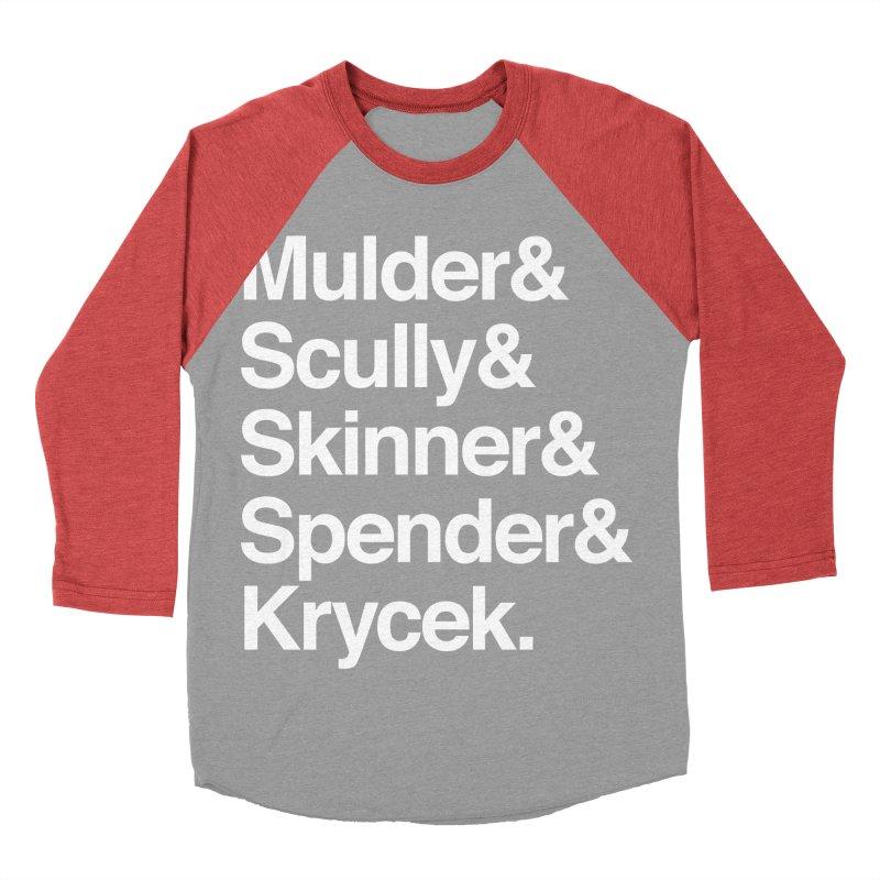 The X-Files in Helvetica - Mulder Scully Skinner Spender Krycek Men's Baseball Triblend Longsleeve T-Shirt by Calobee Doodles