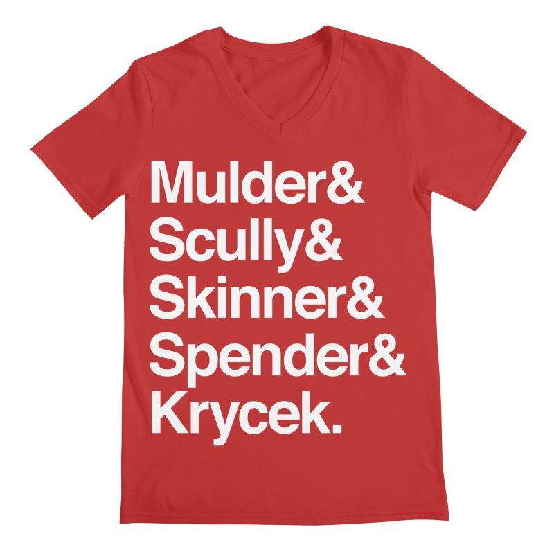 The X-Files in Helvetica - Mulder Scully Skinner Spender Krycek Men's Regular V-Neck by Calobee Doodles