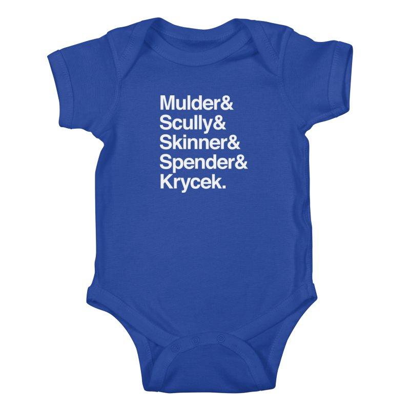 The X-Files in Helvetica - Mulder Scully Skinner Spender Krycek Kids Baby Bodysuit by Calobee Doodles