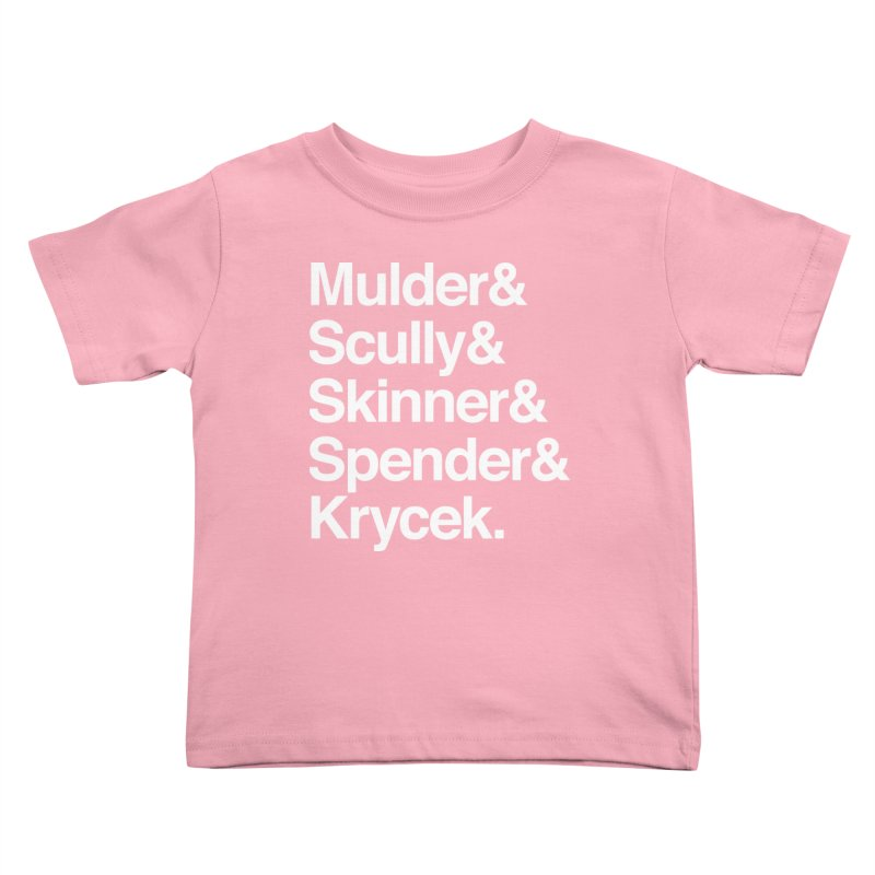 The X-Files in Helvetica - Mulder Scully Skinner Spender Krycek Kids Toddler T-Shirt by Calobee Doodles