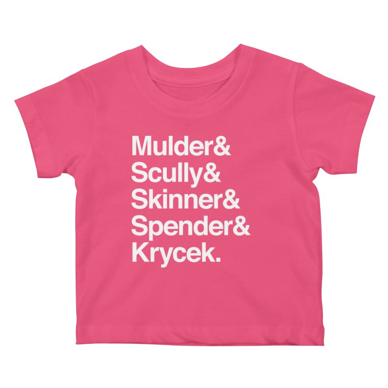 The X-Files in Helvetica - Mulder Scully Skinner Spender Krycek Kids Baby T-Shirt by Calobee Doodles