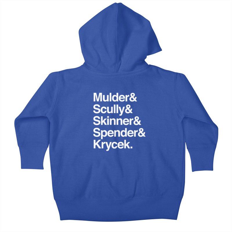 The X-Files in Helvetica - Mulder Scully Skinner Spender Krycek Kids Baby Zip-Up Hoody by Calobee Doodles