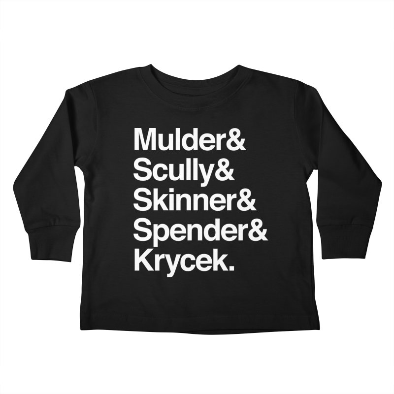 The X-Files in Helvetica - Mulder Scully Skinner Spender Krycek Kids Toddler Longsleeve T-Shirt by Calobee Doodles