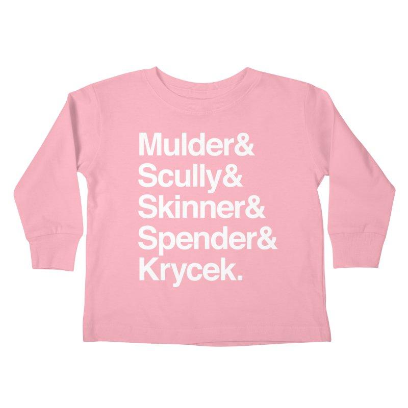 The X-Files in Helvetica - Mulder Scully Skinner Spender Krycek Kids Toddler Longsleeve T-Shirt by Calobee Doodles