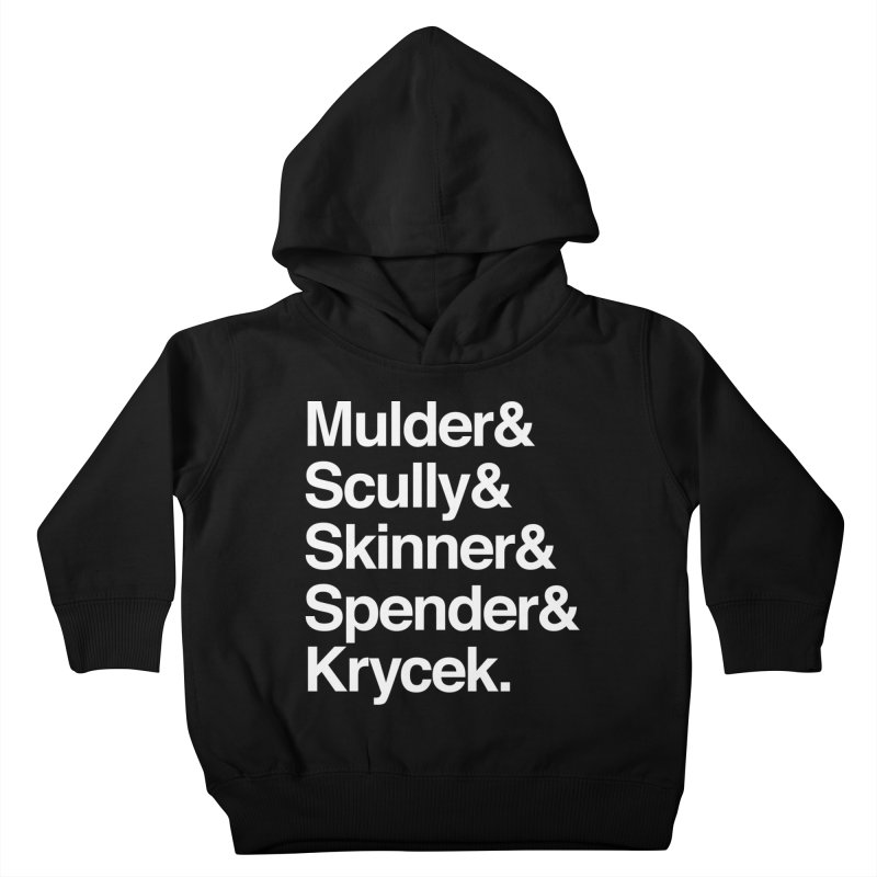 The X-Files in Helvetica - Mulder Scully Skinner Spender Krycek Kids Toddler Pullover Hoody by Calobee Doodles