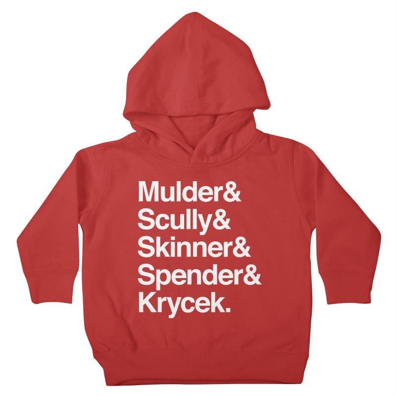 The X-Files in Helvetica - Mulder Scully Skinner Spender Krycek Kids Toddler Pullover Hoody by Calobee Doodles