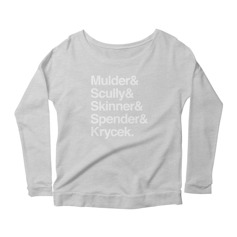 The X-Files in Helvetica - Mulder Scully Skinner Spender Krycek Women's Scoop Neck Longsleeve T-Shirt by Calobee Doodles