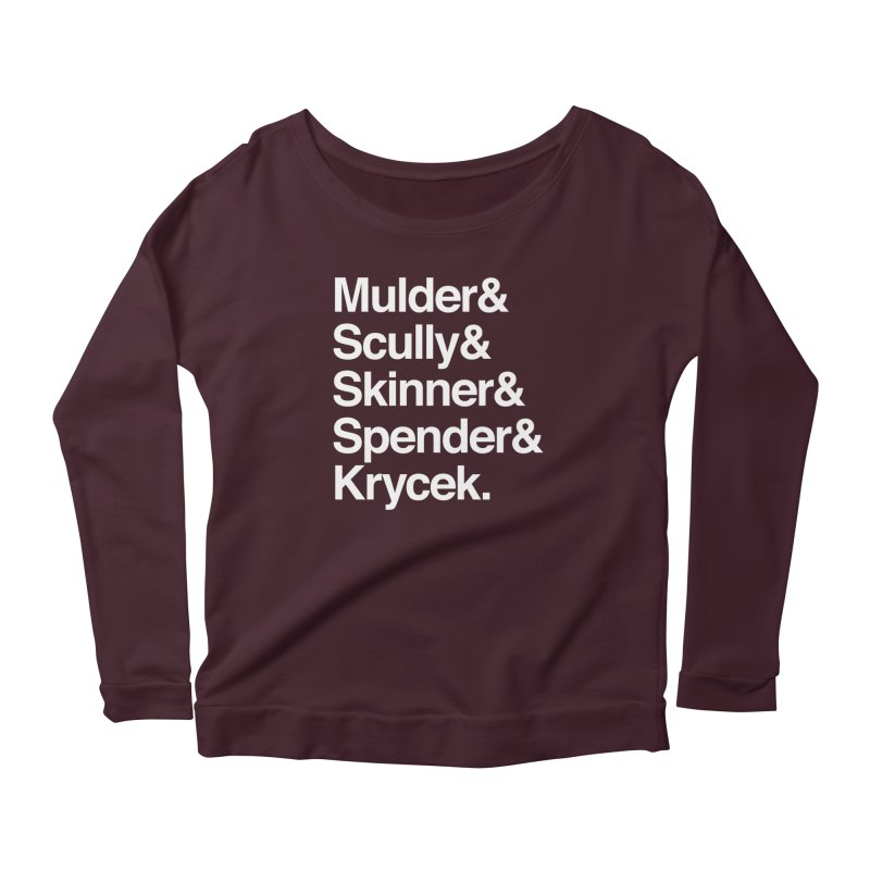 The X-Files in Helvetica - Mulder Scully Skinner Spender Krycek Women's Scoop Neck Longsleeve T-Shirt by Calobee Doodles