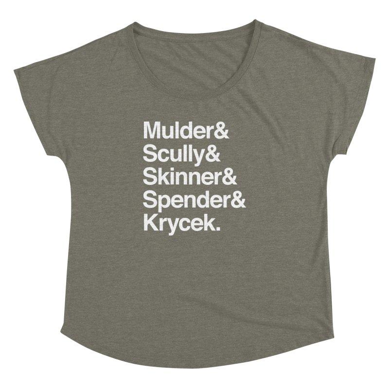 The X-Files in Helvetica - Mulder Scully Skinner Spender Krycek Women's Dolman Scoop Neck by Calobee Doodles