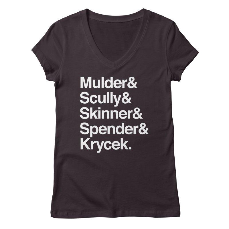 The X-Files in Helvetica - Mulder Scully Skinner Spender Krycek Women's Regular V-Neck by Calobee Doodles