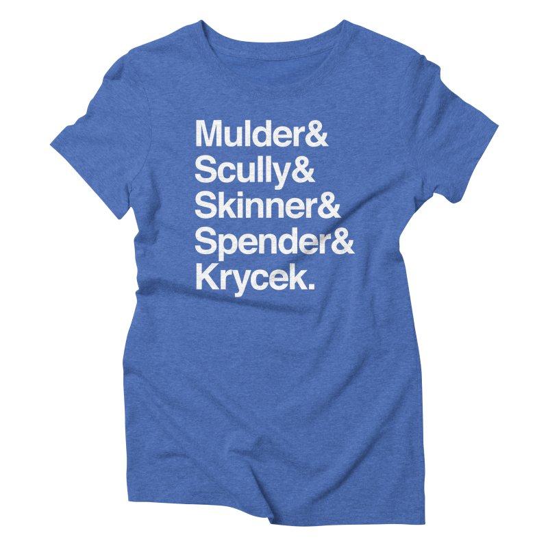 The X-Files in Helvetica - Mulder Scully Skinner Spender Krycek Women's Triblend T-Shirt by Calobee Doodles